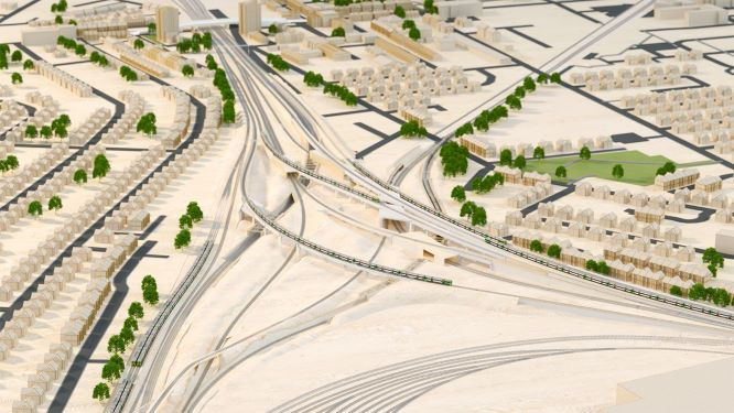 Network Rail computer rendering of the new Selhurst Triangle track layouts with new viaducts