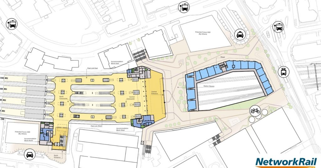 Network Rail 2020 drawings of proposed East Croydon Station showing new forecourt, including the big hole in concourse, the East Croydon Donut