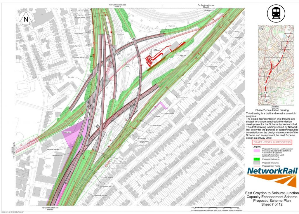 Network Rail 2020 consultation drawing of the proposed track layouts of Selhurst Triangle.