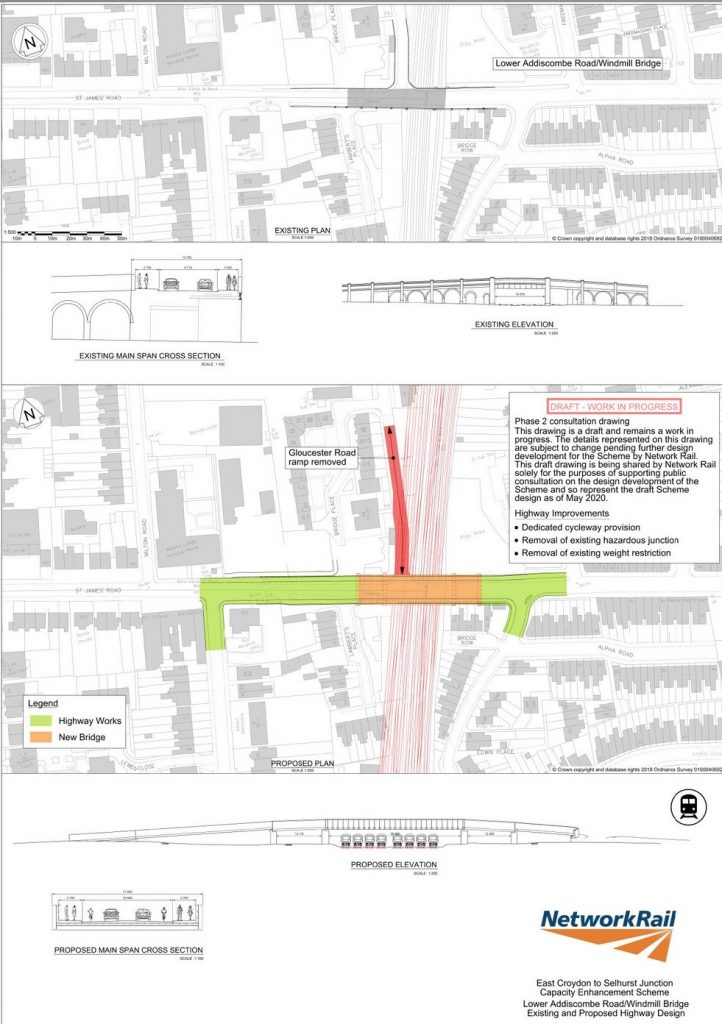 Network Rail 2020 drawing of Windmill Bridge proposed replacement including new road layouts