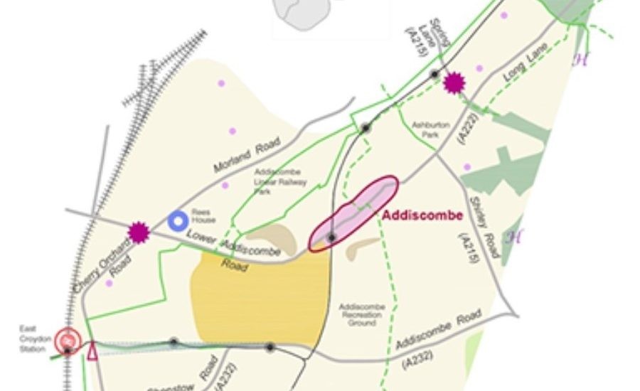 To show area covered by Addiscombe and East Croydon